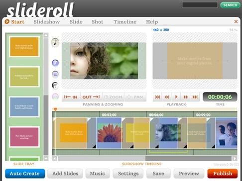 Сервис Slideroll для создания онлайн слайд-шоу